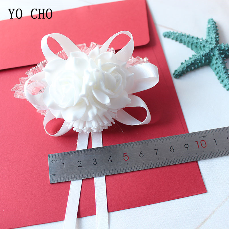 Wedding flower rose white Wrist Corsage Bracelet Boutonniere (22)