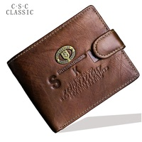 Mens Gentleman Light Brown Cowhide Real Genuine Leather Bifold Zipper Pocket Wallet ID Credit Card For