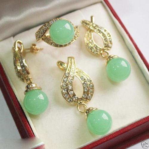 Women's Wedding Jewelry Fashion 12mm Green gem Pendant Necklace Earrings Ring Set silver mujer moda