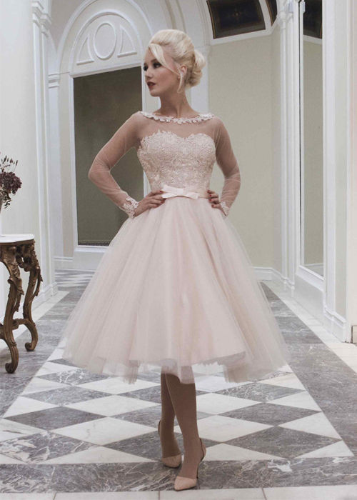 Boutique Blush Pink Sheer Lace Long Sleeve Wedding Dresses Open Back Short Bridal Gowns 2017 Vestidos De Casamento Curto In From
