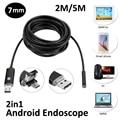 Nova Chegada 7mm 2em1 Android USB Endoscópio Camera 2 M 5 M otg micro usb cobra tubo de inspeção endoscópio ip68 à prova d' água 6 pc DIODO EMISSOR de luz