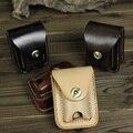 Cuero genuino de la marca más ligero caja de regalo de moda de cuero negro de cigarrillos caja de cigarrillo de los hombres