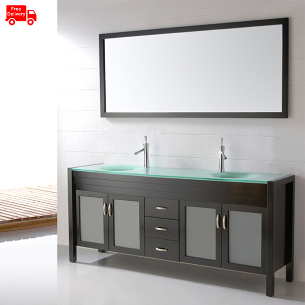 2000mm(80 Inch) Luxury Bathroom Cabinet Glass Double Sink With Glass Vanity  Top