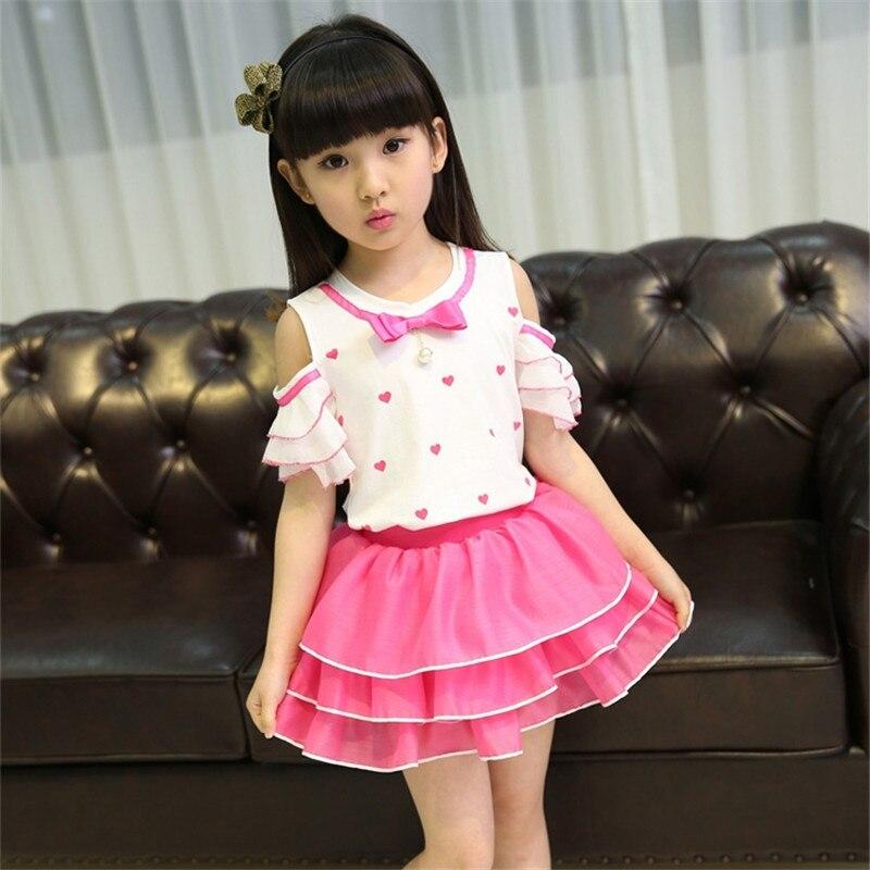 45969ec15d2 Baby Girls Dresses Fashion Summer Kids Off Shoulder O-Neck Mini Dress High  Waist Chiffon Splice Layer Dress