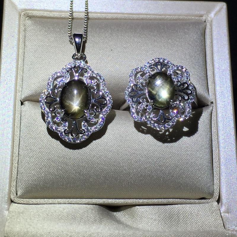 KJJEAXCMY boutique bijoux 925 argent pur serti avec pendentif saphir étoile naturelle + collier + bague sertie de chrysanthème simple