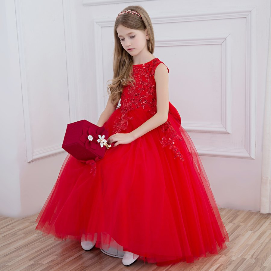 2018 winter sequined floral girl dresses princess costume ruffles tutu kids clothes sleeveless party dress children prom dresses