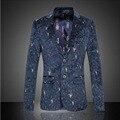 Nova Mens Slim Fit Jaqueta Casual Único Botão Blazer de Algodão Homens jaqueta Cinza Clássico Mens Terno Jaqueta Casaco de Retalhos Dos Homens 5XL