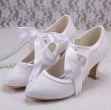 Wedopusแมรี่เจนลูกไม้ชุดแต่งงานสีขาวรองเท้าเจ้าสาวส้นต่ำที่มีคุณภาพสูง