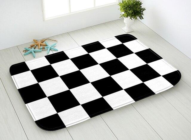 40x60cm 445x75cm Bathroom Floor Mat Black And White Checkered Pattern Doormat Anti Slip Carpet Rugs