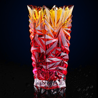 Shining Crystal Glass Flower Vase Decorative Quartz Cluster Pitcher Household Glassware Gift and Craft Ornament Accessories