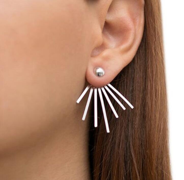 SMJEL Neue Frauen Bar Ohrringe Metall Einfache Geometrische Bolzenohrrings Mode Quasten Dreieck Schmuck Ohr Jacken geschenk bijoux