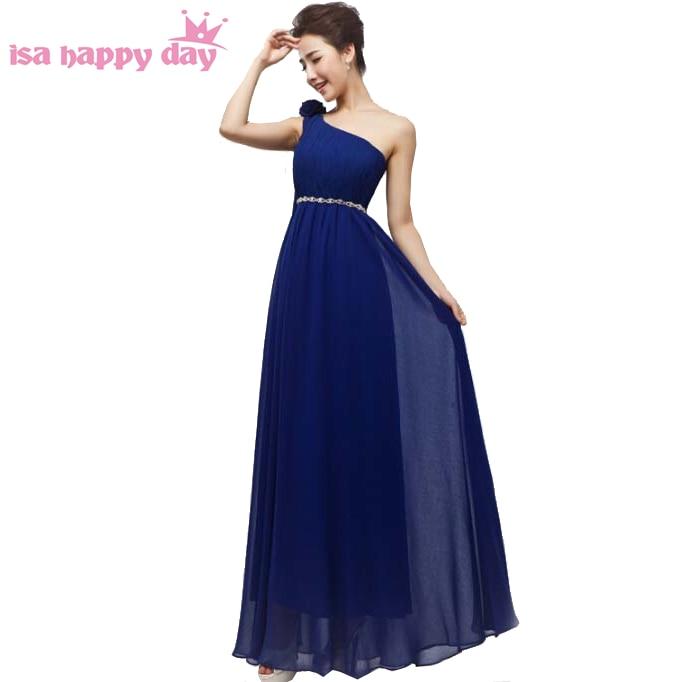 robes de soirees design woman royal blue party a line chiffon ladies one shoulder   prom     dress   long   dresses   2019 new H1796