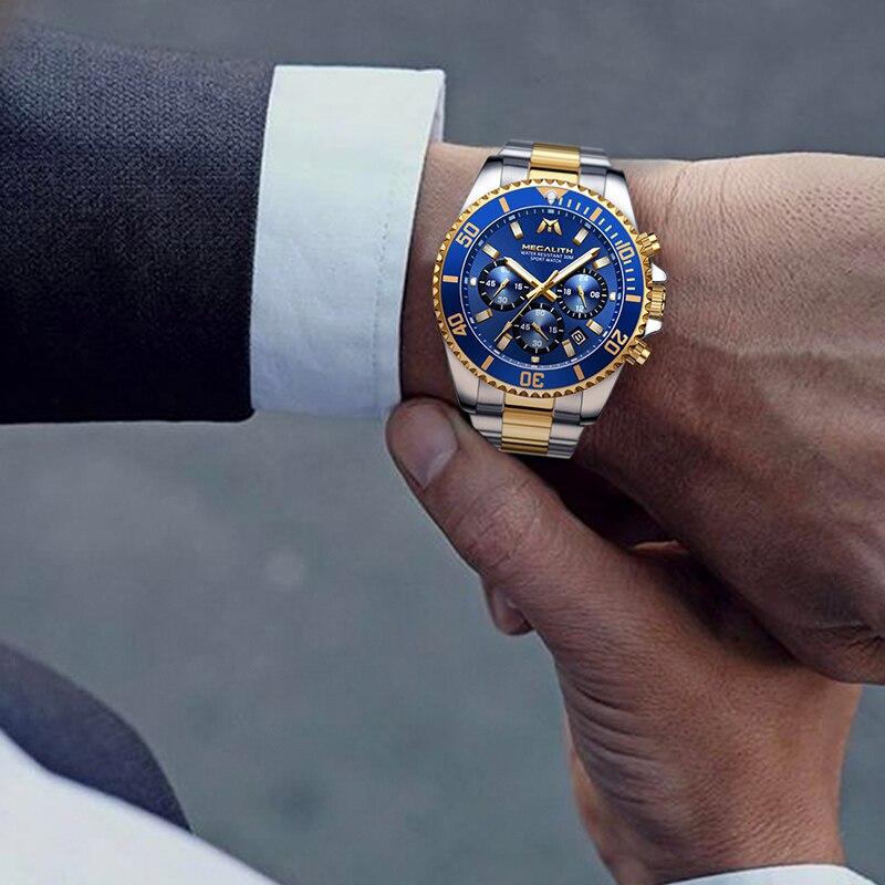 MEGALITH Luxury Mens Watches Sports Chronograph Waterproof Analog 24 Hour Date Quartz Watch Men Full Steel Wrist Watches Clock 5