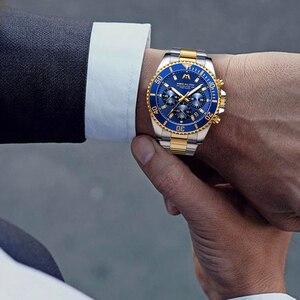 Image 5 - MEGALITH Роскошные мужские часы, спортивные часы с хронографом, водонепроницаемые аналоговые кварцевые часы с датой 24 часа, мужские полностью Стальные наручные часы