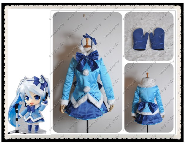 Vocaloid Snow Miku 2012 Edition Light Snow Overcoat Cosplay Costume image