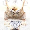 Сексуальная Леопардовый Комплект Нижнего Белья Женщины, Push Up Bra & Трусики Комплект толстая кружева Белье Набор Женщин Белье груза падения