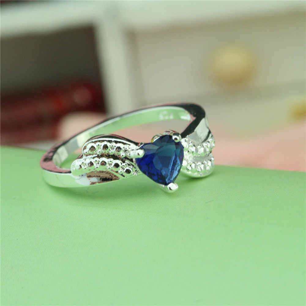 925 סטרלינג כסף טבעת לב בצורת קריסטל יוקרה פשוט נשי טבעת חדש אירוסין מתנה