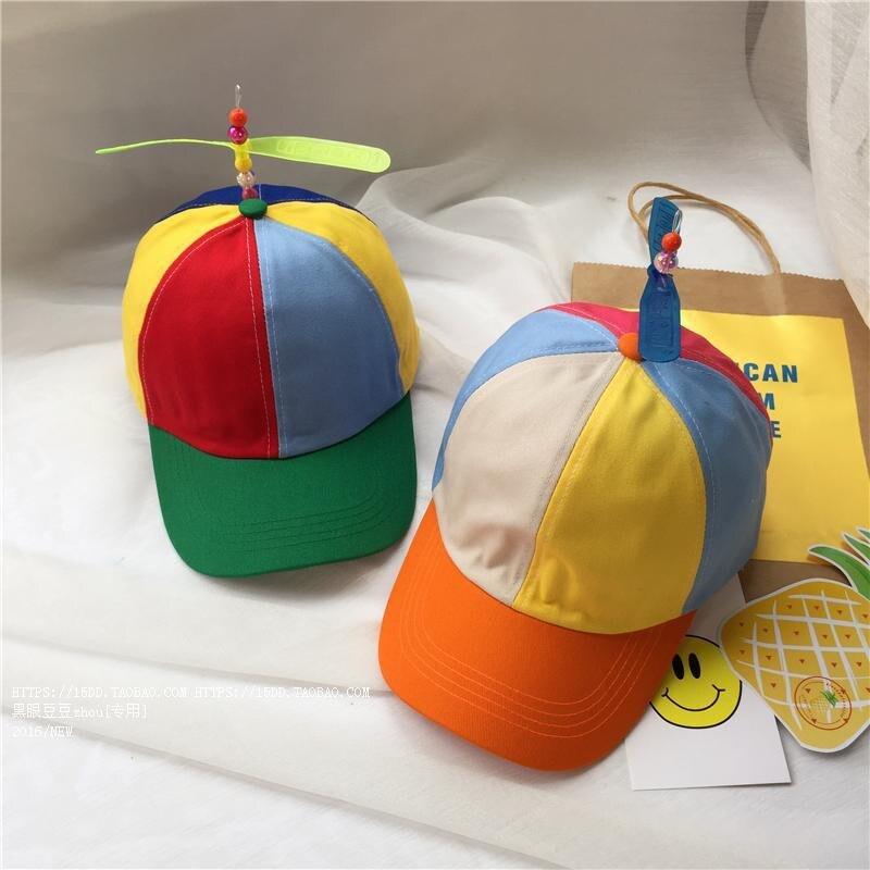 Summer Adult Adjustable Propeller Ball Baseball Cap Dragonfly Top Multi-Color Patchwork Funny Lovely GPD8814