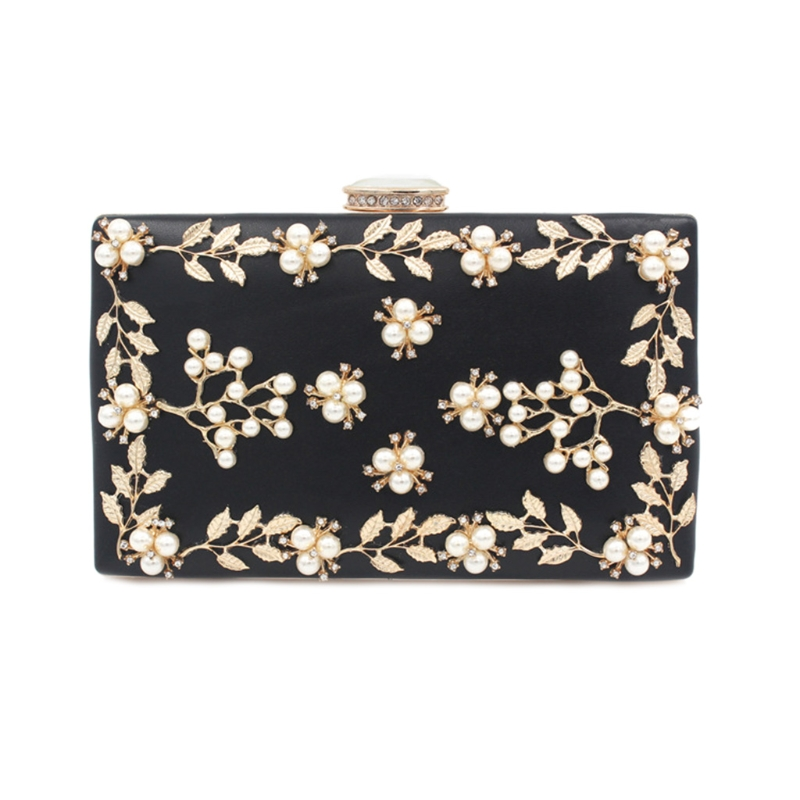 Fashion Womens Noble Pearl Beaded Evening Clutch Party bags Bridal Wedding Purse