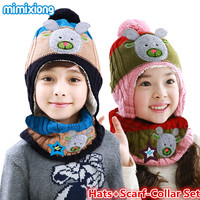 Baby Hats Cartoon Knit Pattern Children Hat Scarf 2pcs Set Fashion Autumn Kids Girls Knitted Beanie