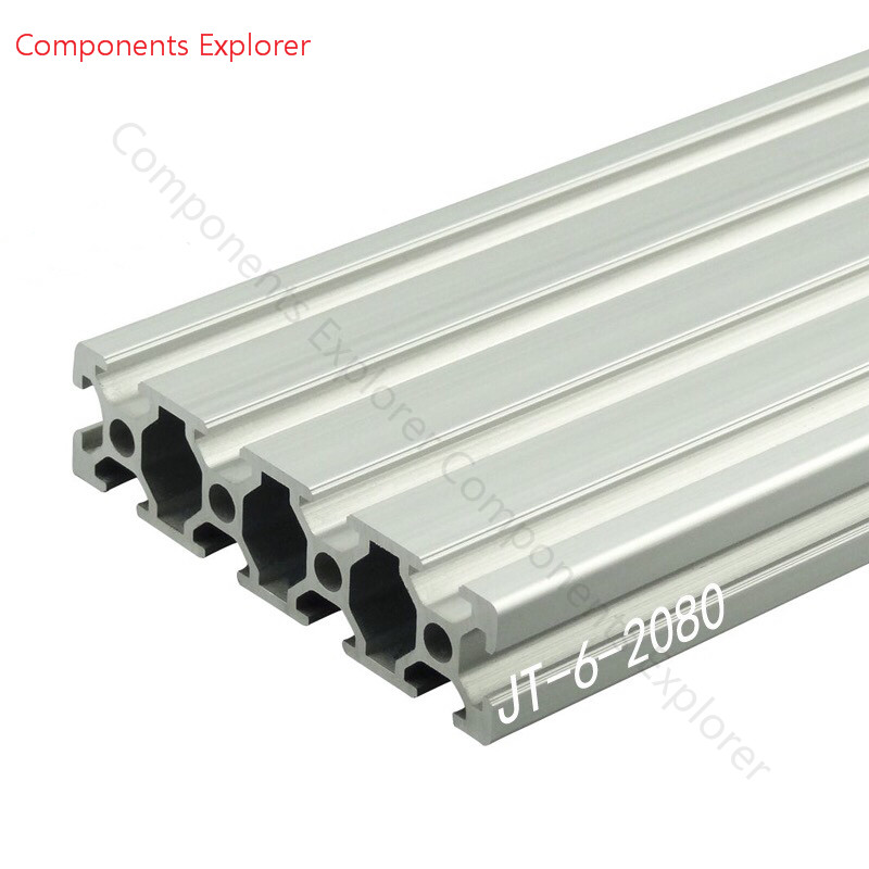 Arbitrary Cutting 1000mm 2080 Aluminum Extrusion Profile,Silvery Color.
