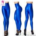 Yomsong Nueva Moda de Cintura Alta de Neón Polainas Para Las Mujeres Del Color Del Caramelo Elástico Pantalones Zipper Plux Tamaño Vendedores Calientes