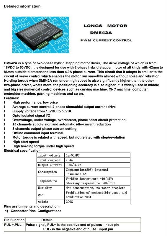 Драйвер шагового двигателя DM542A цифровой контроллер 4.2A 24-50VDC ЧПУ маршрутизатор мельница LONGS мотор