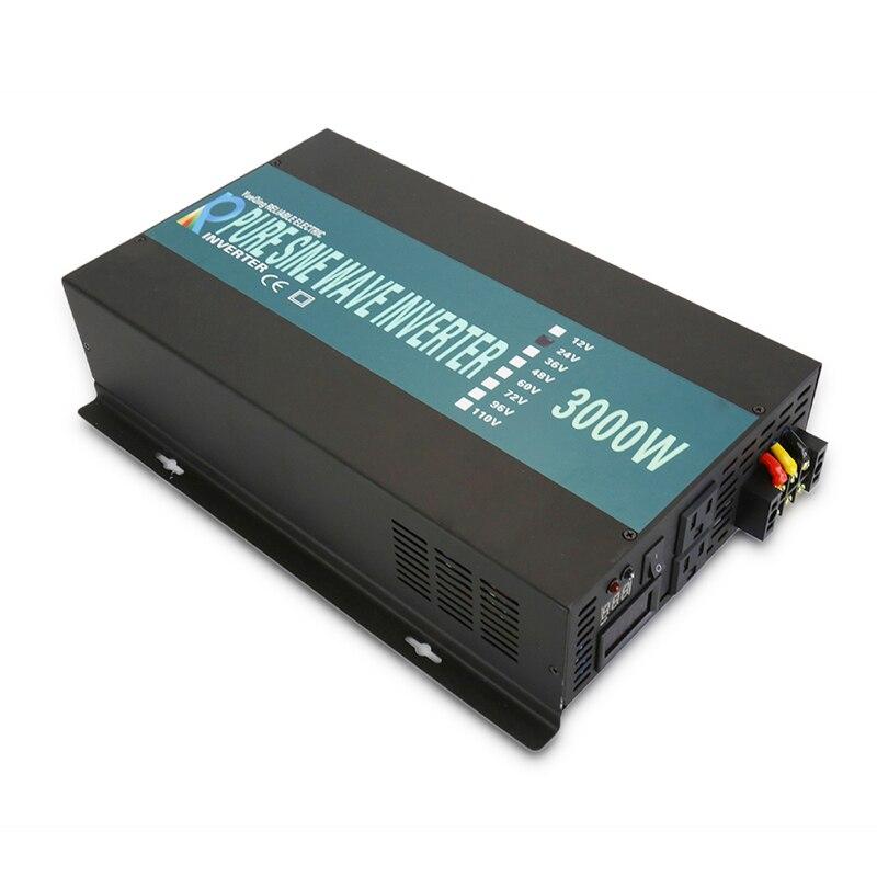 6000W Peak 3000W Pure Sine Wave Power Inverter 24V to 220V Home Solar Generator Inverter Converter 12V/24V/48V to 120V/230V/240V