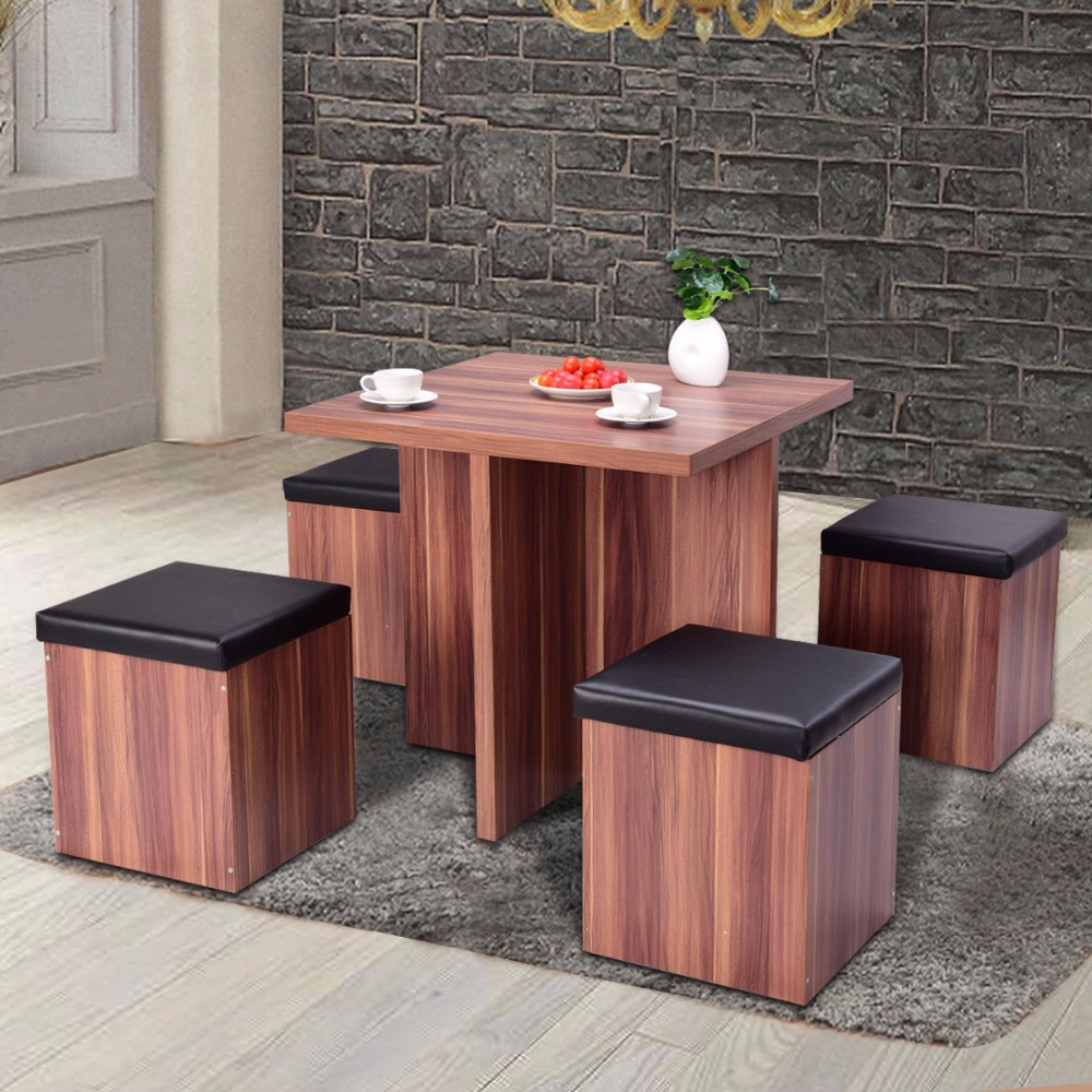 Giantex 5 Pieces Wood Dining Table And 4 Stools Set Modern