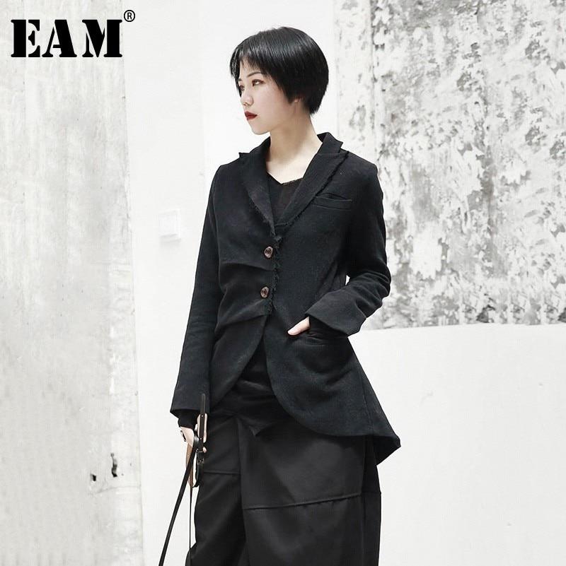 EAM 2019 New Spring Lapel Long Sleeve Black Jacquard Fold Loose Irregular Hem Jacket Women