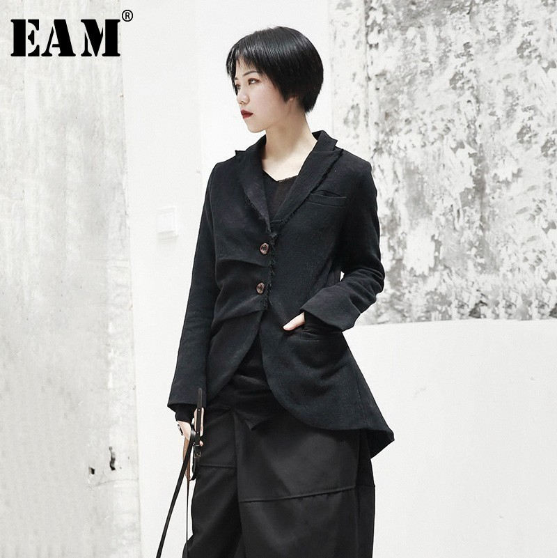 [EAM] 2020 New Spring Lapel Long Sleeve Black Jacquard Fold Loose Irregular Hem Jacket Women Coat Fashion Tide JI093