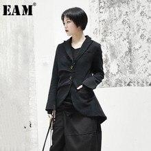 [EAM] 2020 New Spring Lapel Long Sleeve Black Jacquard Fold Loose Irregular Hem Jacket