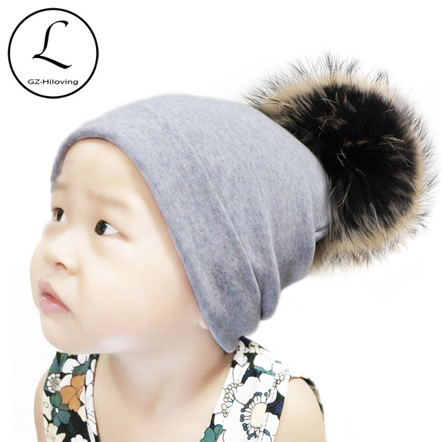 fa69f8182c0 GZHILOVINGL 5 Months-2.5 Years Baby Girls Boys Toddler Winter Warm Cotton  Knit Beanie Hat Autumn Kids Big Real Fur Pom Pom Hats
