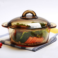 Import Double Ear Soup Pot Glass Color Amber Pot Soup Pot Open Fire Stew Pot LM12181710