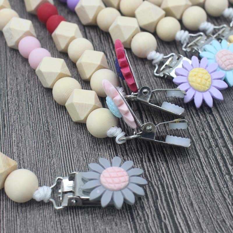 Baby chupete Clip cadena cuentas de madera silicona titular pinza para chupete soporte para pezones para niños botella Clip cadena