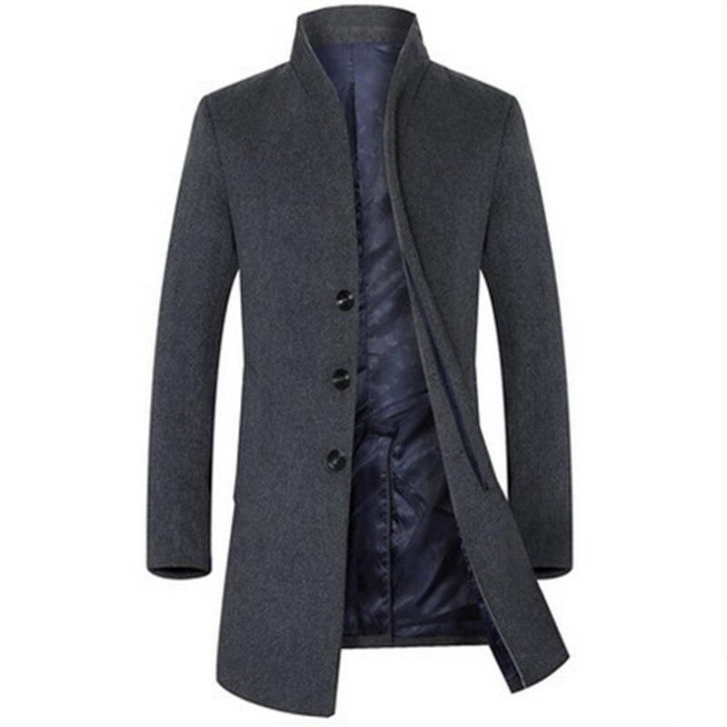 Hiver Sections Laine 2016 Black Gray Jeunes En Automne Hommes Homme dark Longues De Coupe Manteau Col Veste Et vent qxRpxP