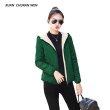 Xuanchuranwen Повседневное вельветовые куртки Женская куртка с капюшоном Мягкий зимнее пальто на молнии плюс Размеры тонкий хлопок Пиджаки qd1812