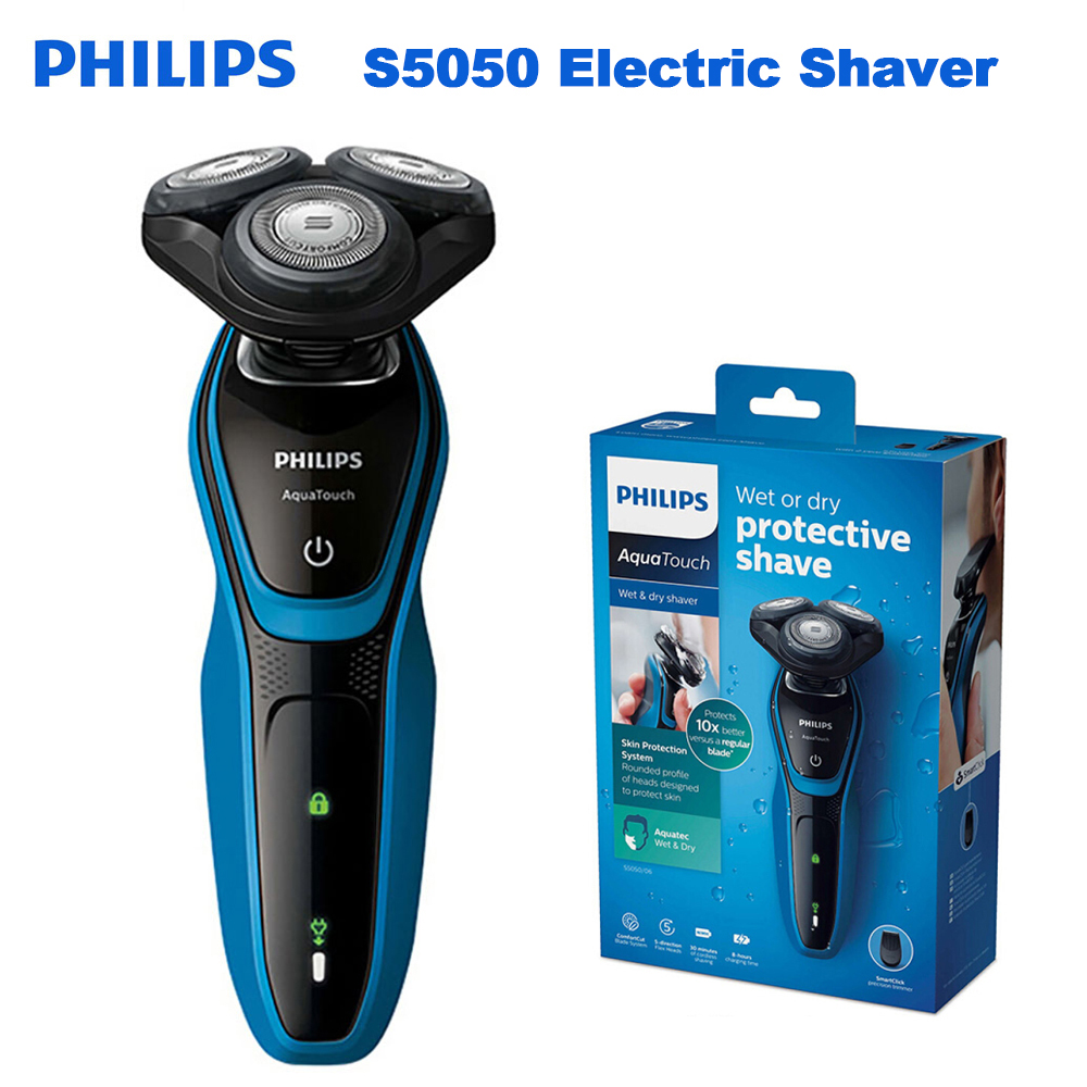 Rasoir électrique professionnel AquaTouch S5050 Philips Original avec tête rotative 3 avec système de Protection de la peau rasoir pour homme