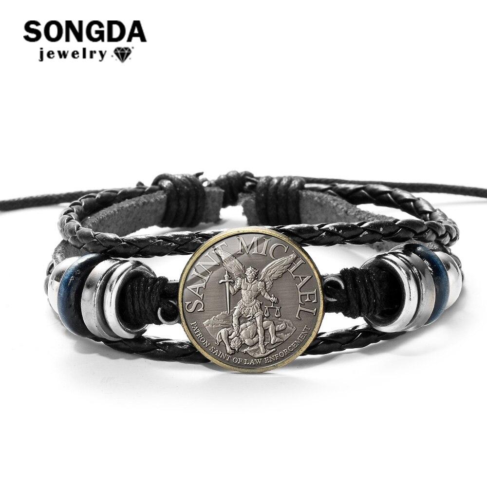 SONGDA Legend Archangel St. Майкл кожаный браслет ст. Майкл защитит нас священный щит защита Justice Шарм браслет амулет