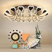 Atmosfera moderna conduziu a Luz de Teto Para Casa Sala de estar Lâmpada Do Teto de Cristal levou Luz de Teto Lâmpadas de Cristal Romântico Coração-em forma