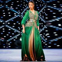 2015 eleganz Grün Abendkleider Eine Linie Muslimischen Kaftan Dubai Langarm Rüschen Abaya Islamischen Besondere anlässe