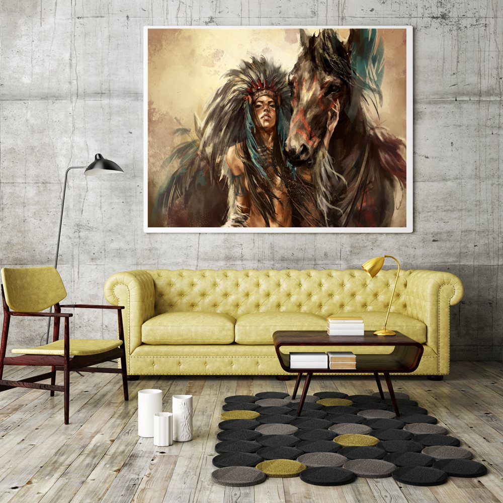 Dropshipping Vintage Home Decor Native American Indian Girl Feather ...