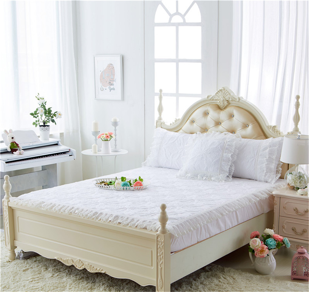 Spring fashion princess girl adult gift twin queen Bed fitted bedspread 100% cotton pad print white Lace thicken elasticity sets