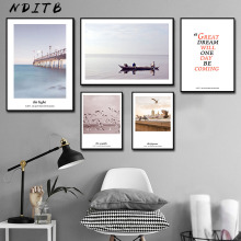 Scandinavian Sea Boat Coastal Canvas Wall Art Poster Nordic Landscape Print Painting Decoration Picture for Living Room