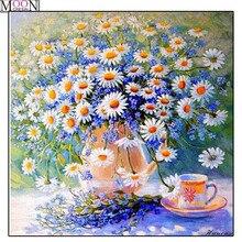 MOONCRESIN DIY Diamond Embroidery Fresh Daisy Flowers Painting Cross Stitch Full Square Drill Rhinestone Mosaic Decoration Kits стоимость