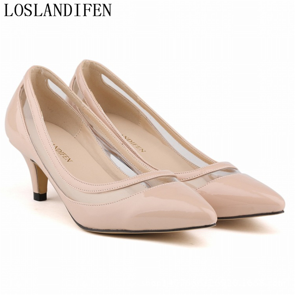 Sexy Women Pumps Pointed Toe Personality OL Patent Leather Thin Med Heels Shoes Woman Zapatos Mujer Women Shoes Size  shofoo newest women shoes med heels pointed toe pumps for woman dress
