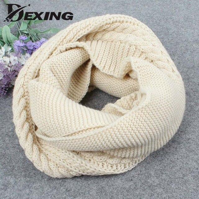2018 invierno cable anillo bufanda mujeres tejer infinito Bufandas ...