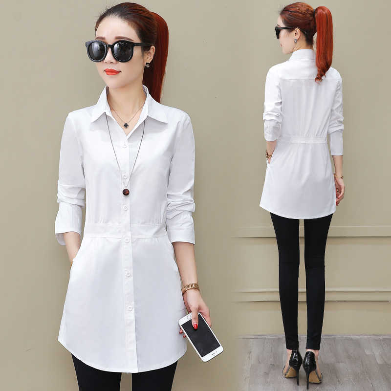 100% cotton Spring summer 2019 new female long sleeved shirt loose women white blouse all-match bottoming tops outwear
