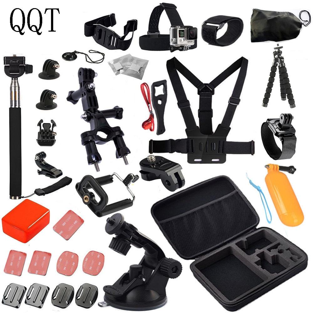 QQT pour GoPro accessoires Kit pour Go Pro Hero 6 5 4 3 + 3 2 1 avec étui de transport/sangle de poitrine/trépied poulpe accessoires caméra