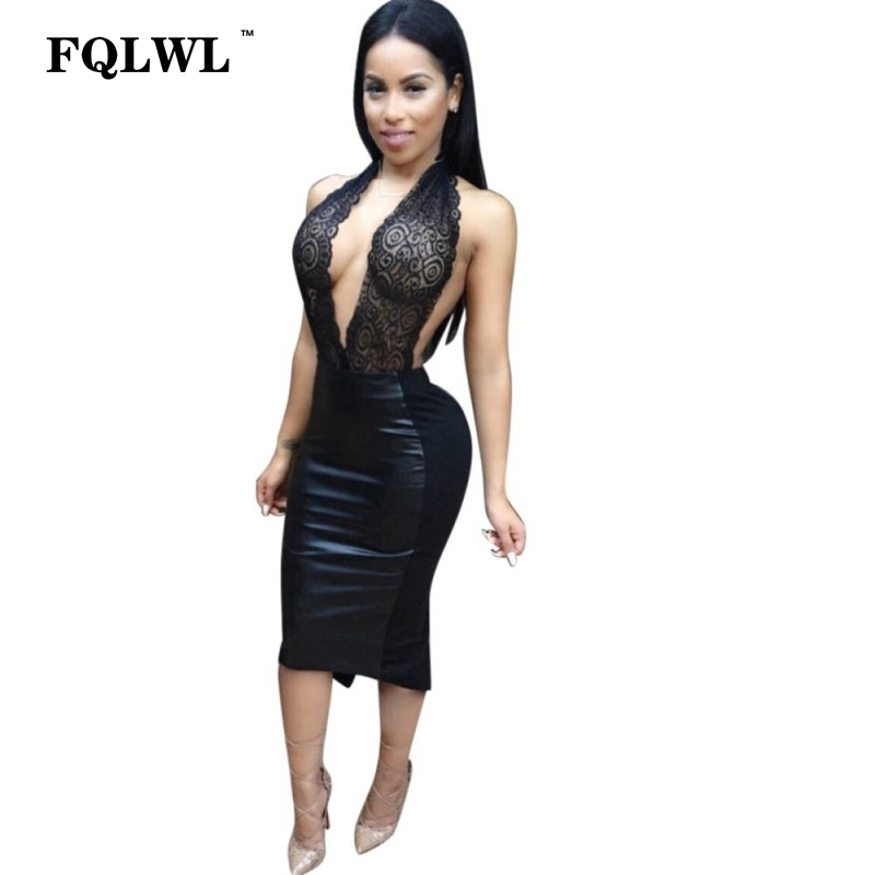 79b1a411ca6f9 FQLWL PU Lace Halter Sexy Bodycon Dress Women Backless Low Cut Deep V Neck  Cleavage Dress Wrap Summer Dresses Femme Vestidos